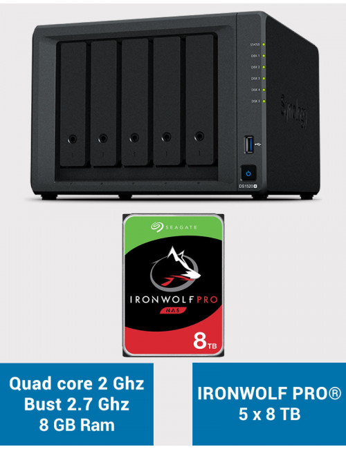 Synology DS1520+ 8GB Serveur NAS IRONWOLF PRO 40To (5x8To)