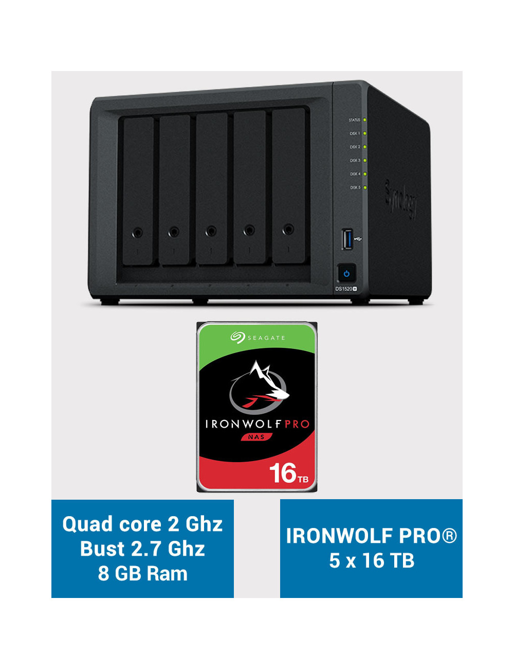Synology DS1520+ 8GB Serveur NAS IRONWOLF PRO 80To (5x16To)