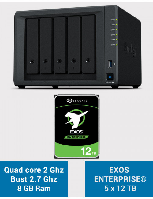 Synology DS1520+ 8Go Serveur NAS EXOS ENTERPRISE 60To (5x12To)