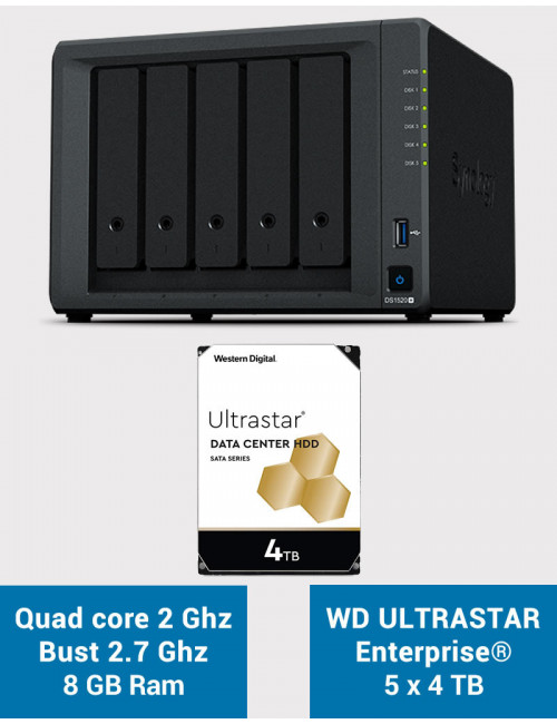 Synology DS1520+ 8Go Serveur NAS WD ULTRASTAR ENTERPRISE 20To (5x4To)