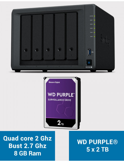Synology DS1520+ 8GB Serveur NAS WD PURPLE 10To (5x2To)