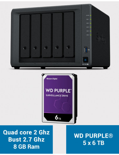 Synology DS1520+ 8GB Serveur NAS WD PURPLE 30To (5x6To)