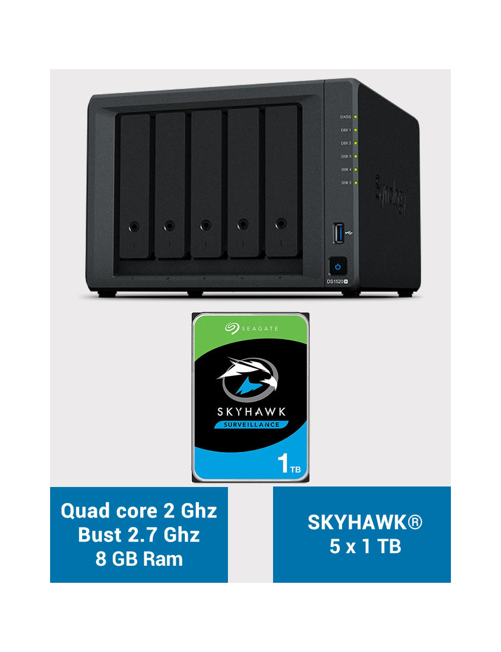 Synology DS1520+ 8GB Serveur NAS SKYHAWK 5To (5x1To)