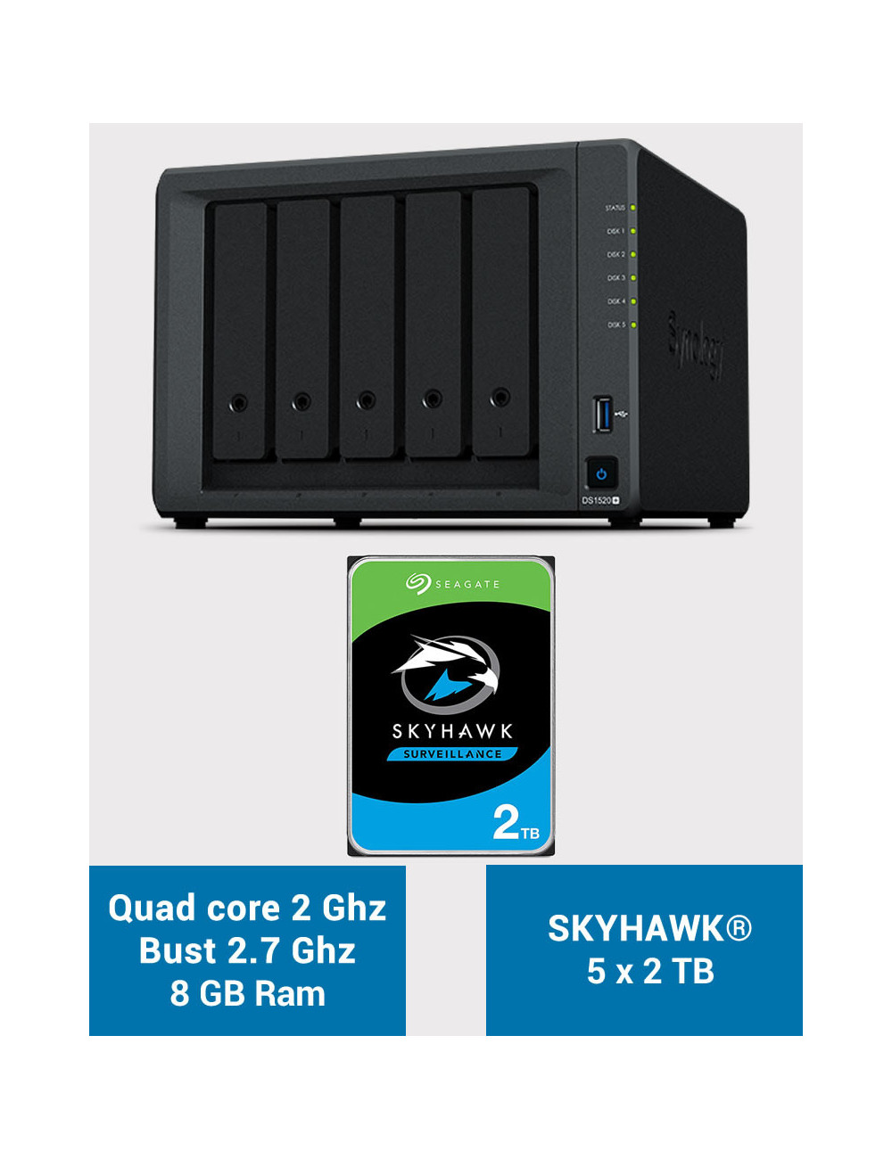 Synology DS1520+ 8GB Serveur NAS SKYHAWK 10To (5x2To)