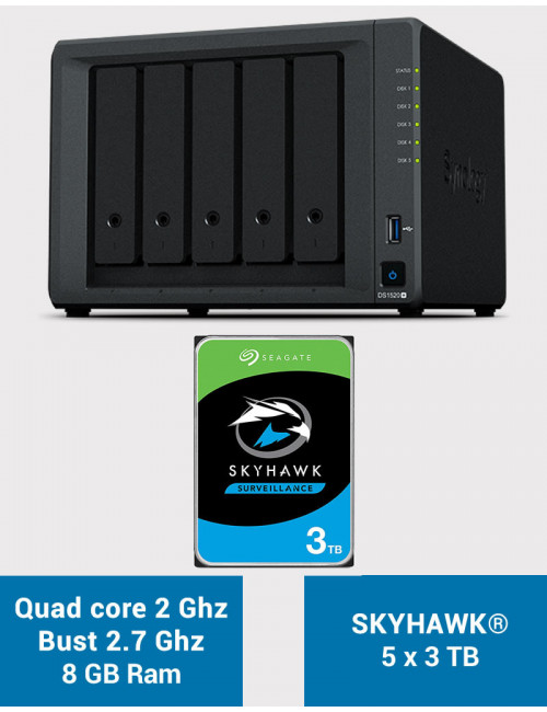 Synology DS1520+ 8GB Serveur NAS SKYHAWK 15To (5x3To)