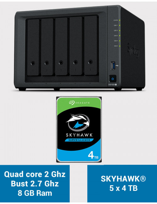 Synology DS1520+ 8GB Serveur NAS SKYHAWK 20To (5x4To)