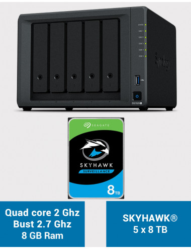 Synology DS1520+ 8GB Serveur NAS SKYHAWK 40To (5x8To)
