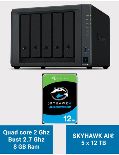 Synology DS1520+ 8GB Serveur NAS SKYHAWK AI 60To (5x12To)