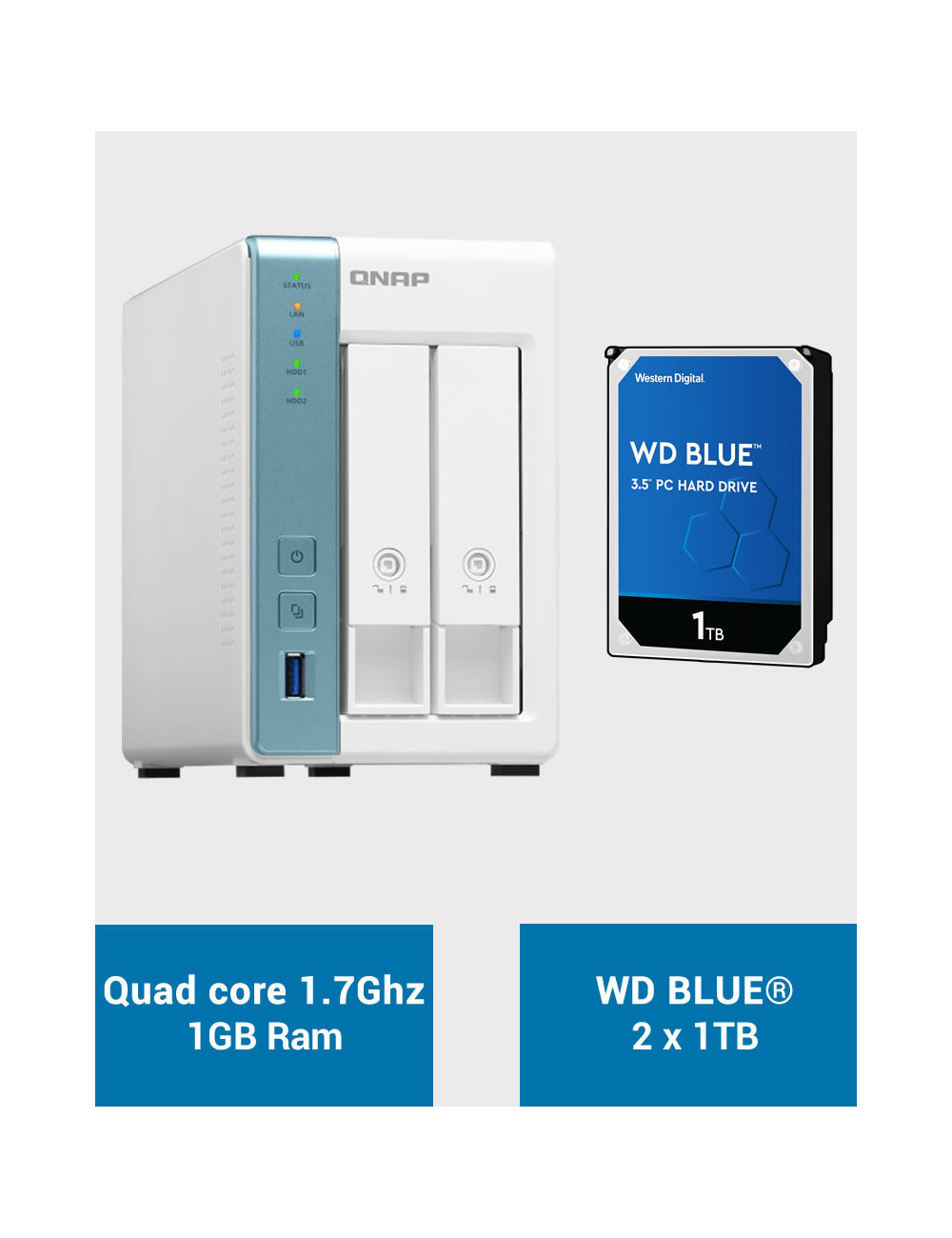 QNAP TS-231K Serveur NAS WD BLUE 2To (2x1To)