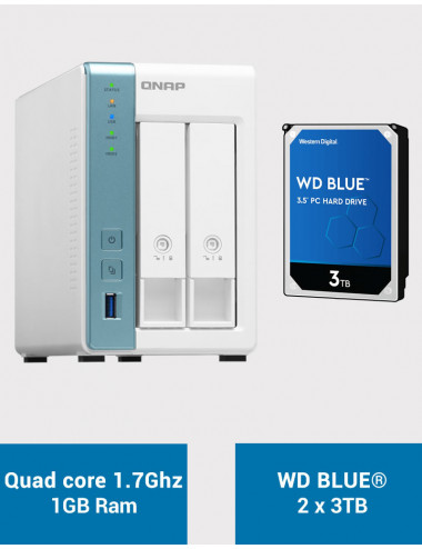 QNAP TS-231K Serveur NAS WD BLUE 6To (2x3To)