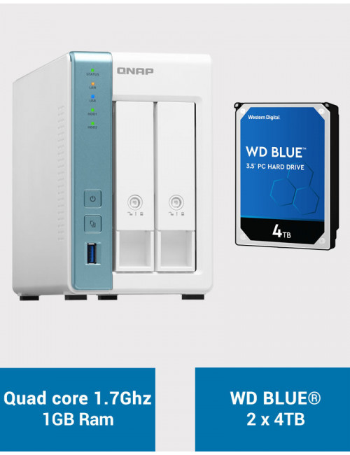 QNAP TS-231K Serveur NAS WD BLUE 8To (2x4To)