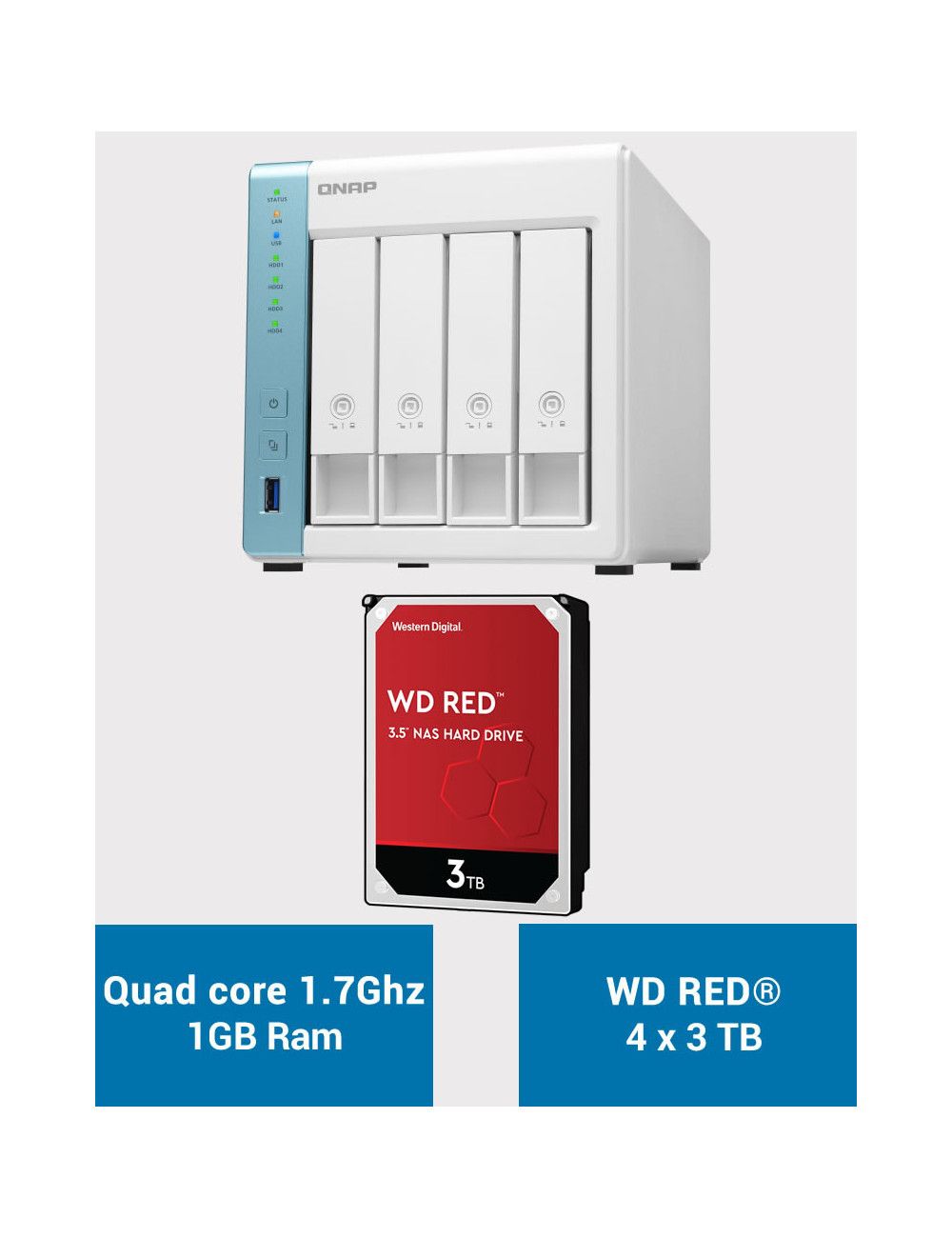 QNAP TS-431K Serveur NAS WD RED 12To (4x3To)
