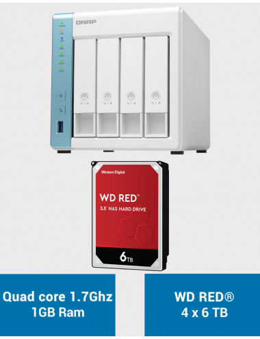 QNAP TS-431K Serveur NAS WD RED 24To (4x6To)