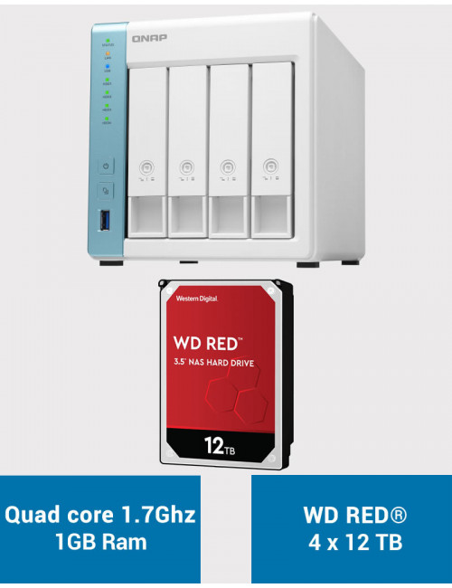 QNAP TS-431K Serveur NAS WD RED 48To (4x12To)