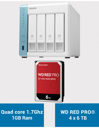 QNAP TS-431K Serveur NAS WD RED PRO 24To (4x6To)
