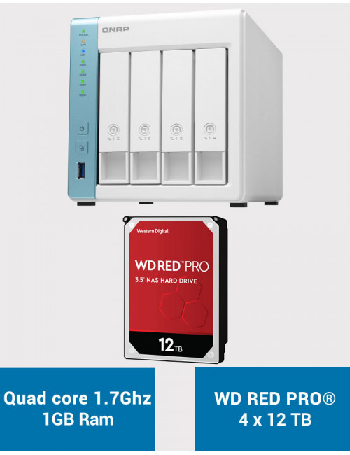QNAP TS-431K Serveur NAS WD RED PRO 48To (4x12To)