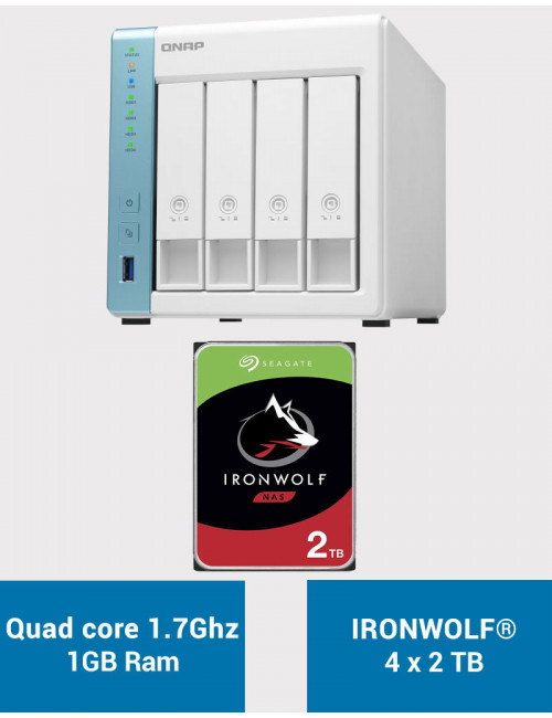 QNAP TS-431K Serveur NAS IRONWOLF 8To (4x2To)