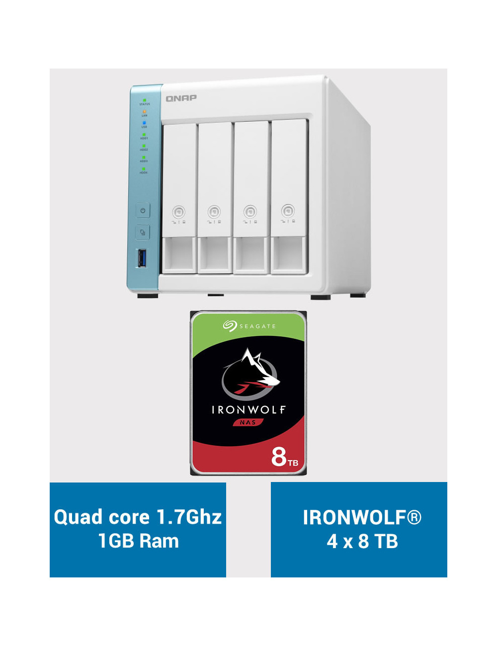 QNAP TS-431K Serveur NAS IRONWOLF 32To (4x8To)