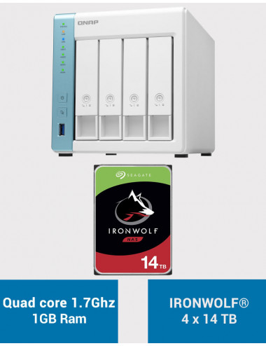 QNAP TS-431K Serveur NAS IRONWOLF 56To (4x14To)