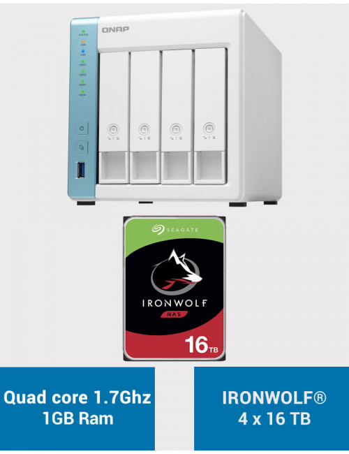 QNAP TS-431K Serveur NAS IRONWOLF 64To (4x16To)