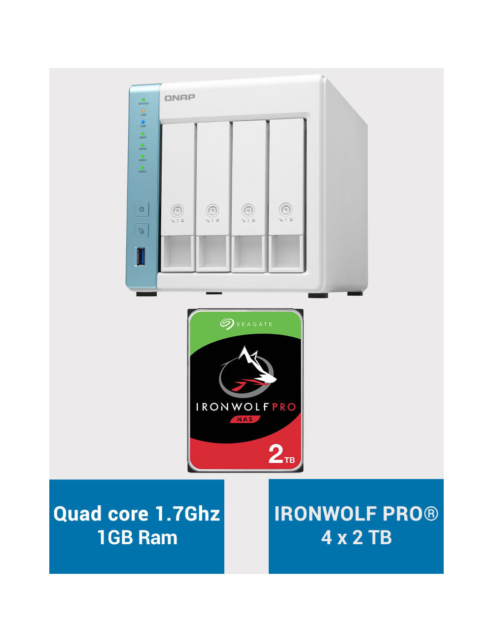 QNAP TS-431K Serveur NAS IRONWOLF PRO 8To (4x2To)