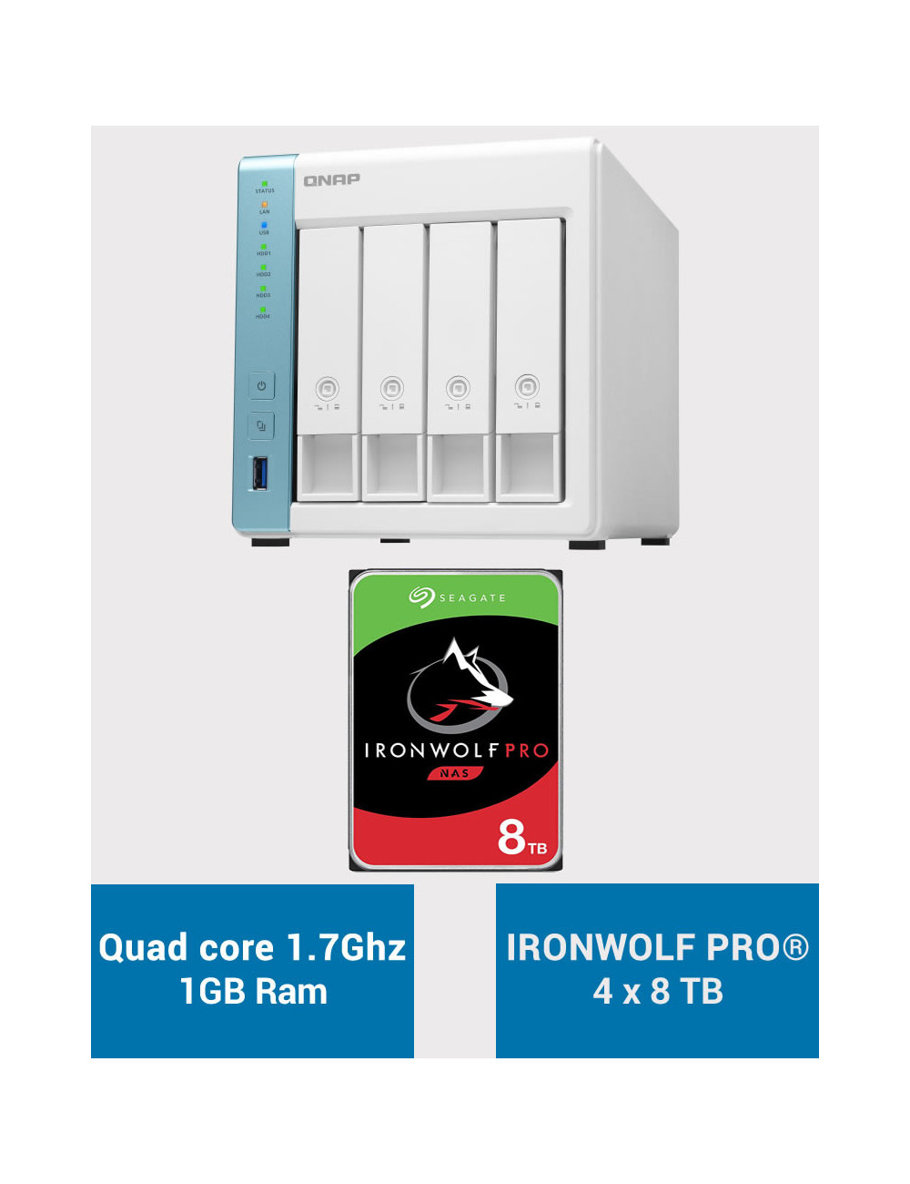 QNAP TS-431K Serveur NAS IRONWOLF PRO 32To (4x8To)