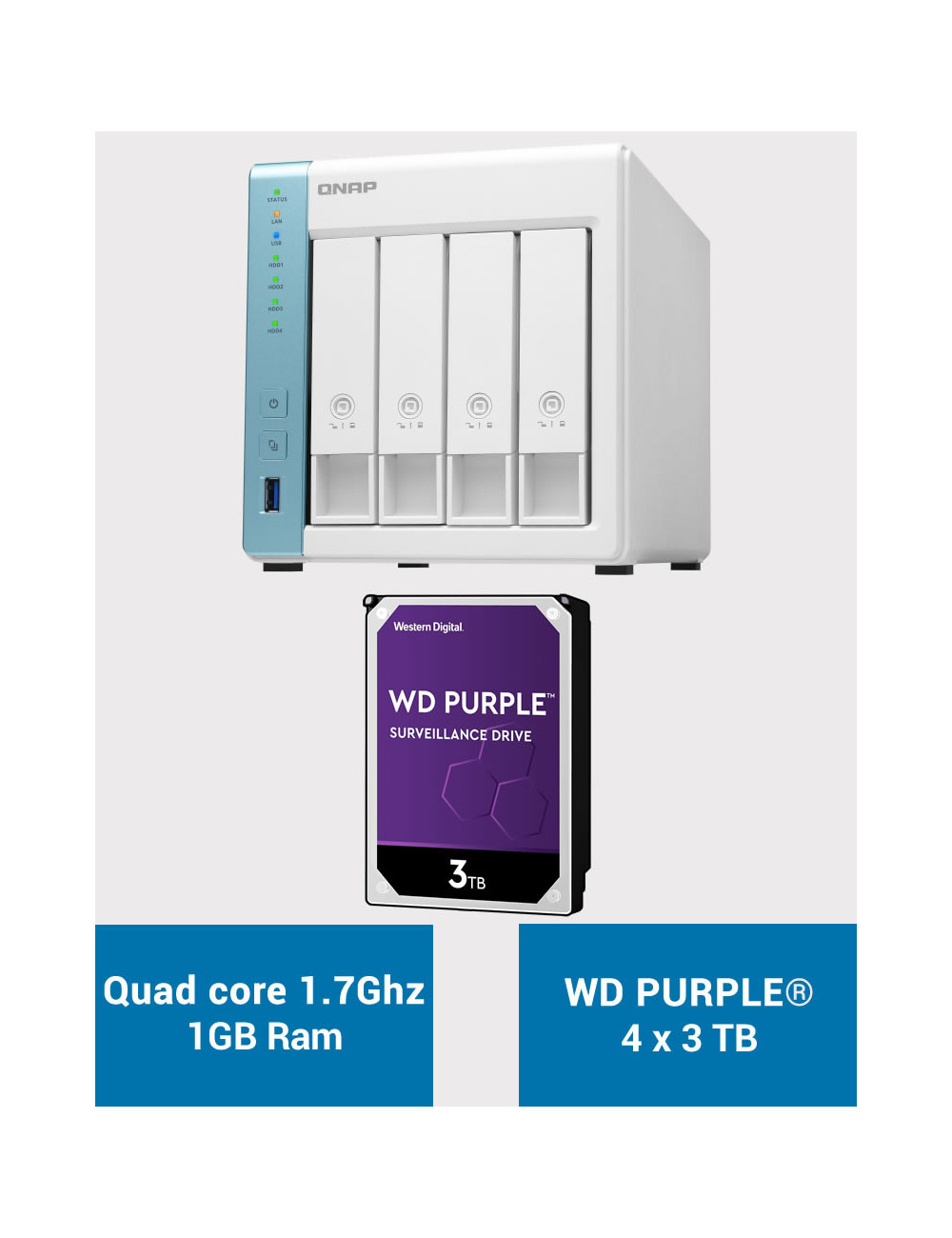QNAP TS-431K Serveur NAS WD PURPLE 12To (4x3To)
