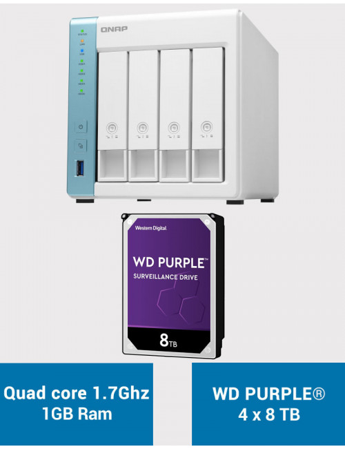 QNAP TS-431K Serveur NAS WD PURPLE 32To (4x8To)