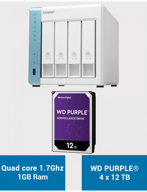QNAP TS-431K Serveur NAS WD PURPLE 48To (4x12To)