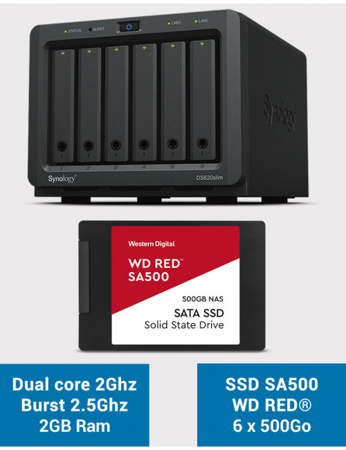 Synology DS620SLIM Serveur NAS Full SSD WDRED SA500 3To (6 x 500Go)