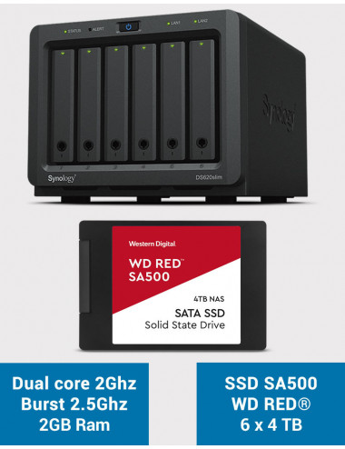 Synology DS620SLIM Serveur NAS Full SSD WDRED SA500 24To (6 x 4To)