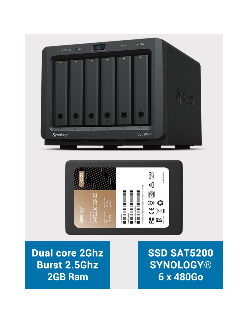 Synology DS620SLIM Serveur NAS Full SSD SAT5200 2.88To (6 x 480Go)