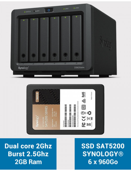 Synology DS620SLIM Serveur NAS Full SSD SAT5200 5.76To (6 x 960Go)