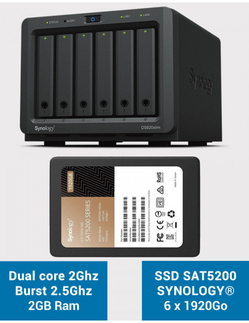 Synology DS620SLIM Serveur NAS Full SSD SAT5200 11.52To (6 x 1920Go)