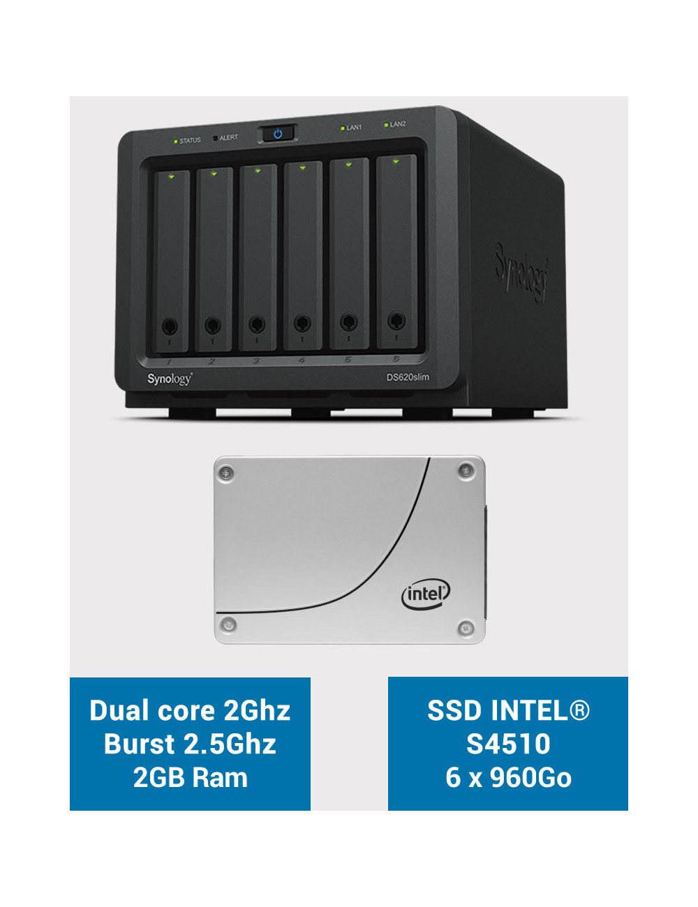 Synology DS620SLIM NAS Server Full SSD INTEL S4510 5.76 TB (6 x 960GB)