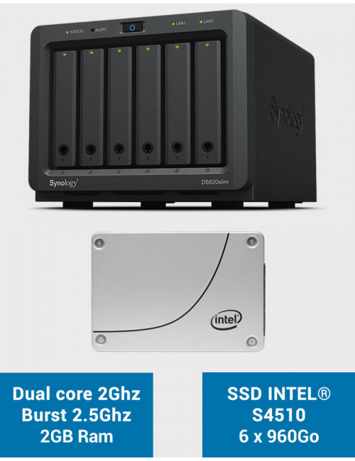 Synology DS620SLIM Serveur NAS Full INTEL S4510 SSD 5.76 To (6 x 960Go)