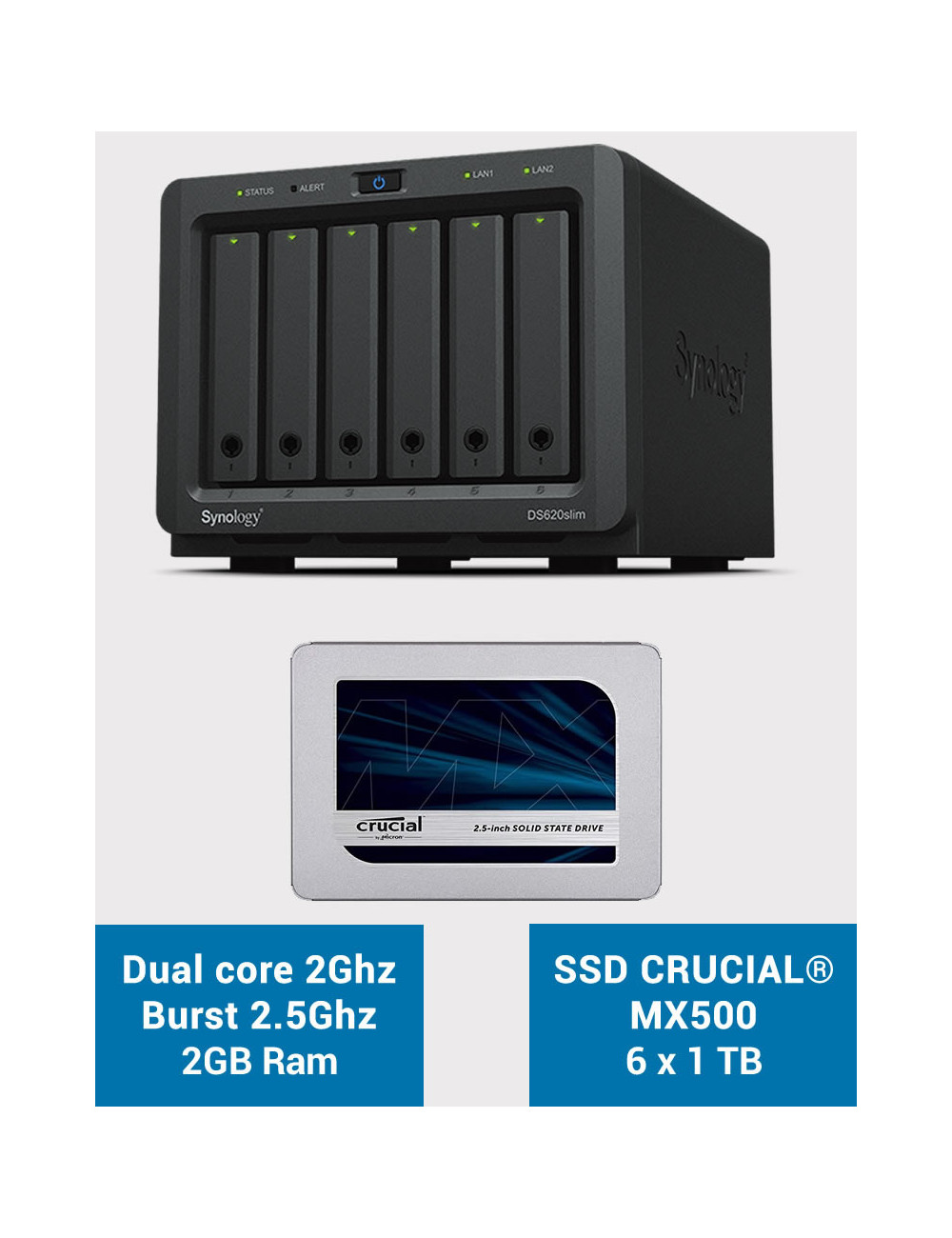 Synology DS620SLIM Serveur NAS Full SSD CRUCIAL MX500 6To (6 x 1To)