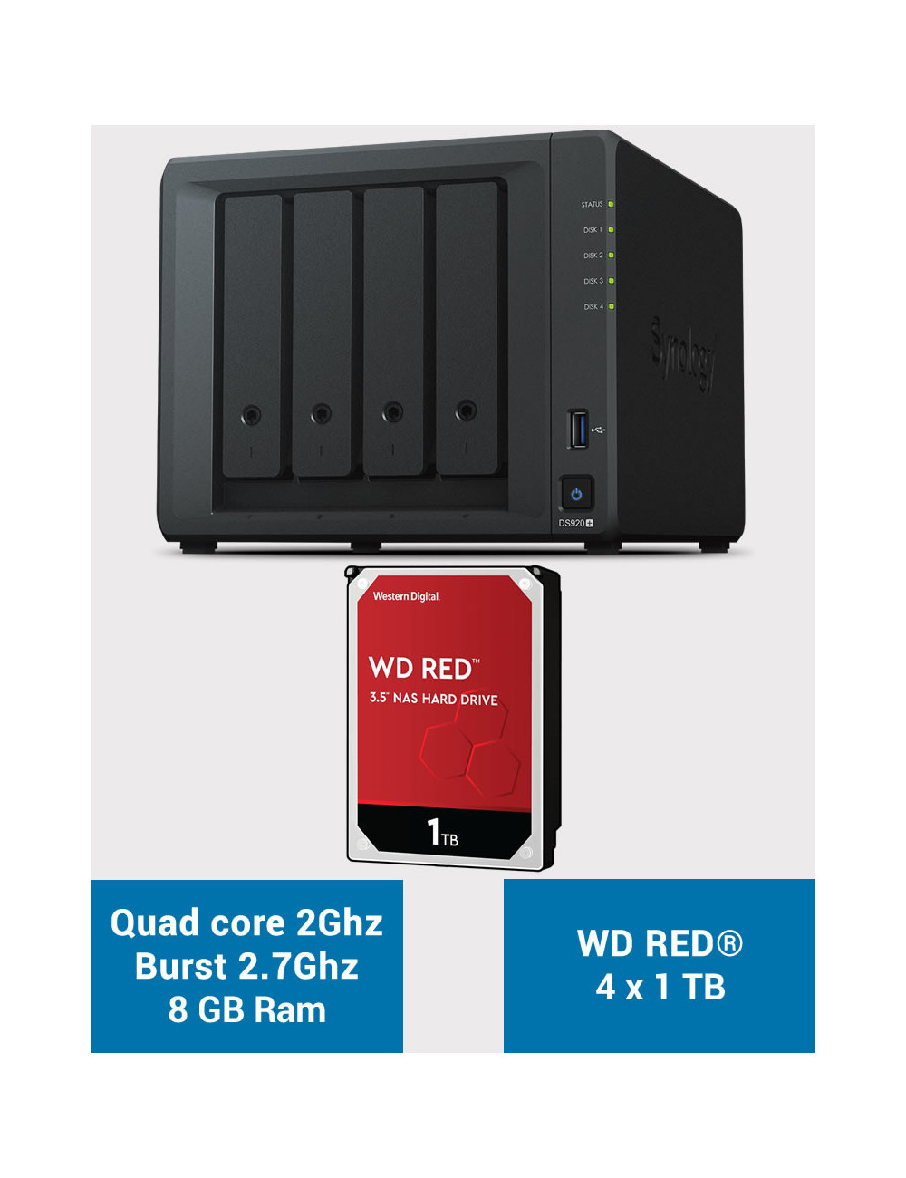 Synology DS920+ 8GB Serveur NAS WD RED 4To (4x1To)
