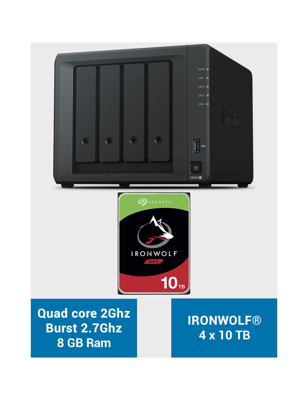 Synology DS920+ 8GB Serveur NAS IRONWOLF 40To (4x10To)