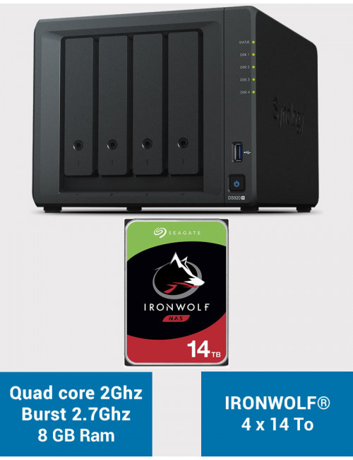 Synology DS920+ 8GB Serveur NAS IRONWOLF 56To (4x14To)