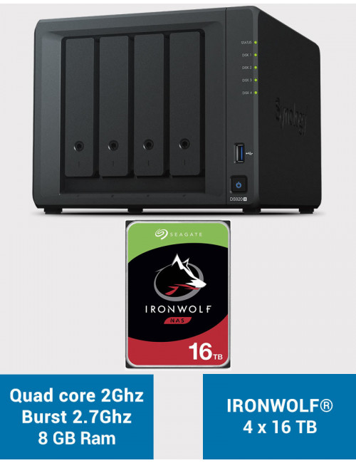 Synology DS920+ 8GB Serveur NAS IRONWOLF 64To (4x16To)