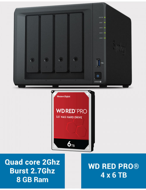 Synology DS920+ 8GB Serveur NAS WD RED PRO 24To (4x6To)