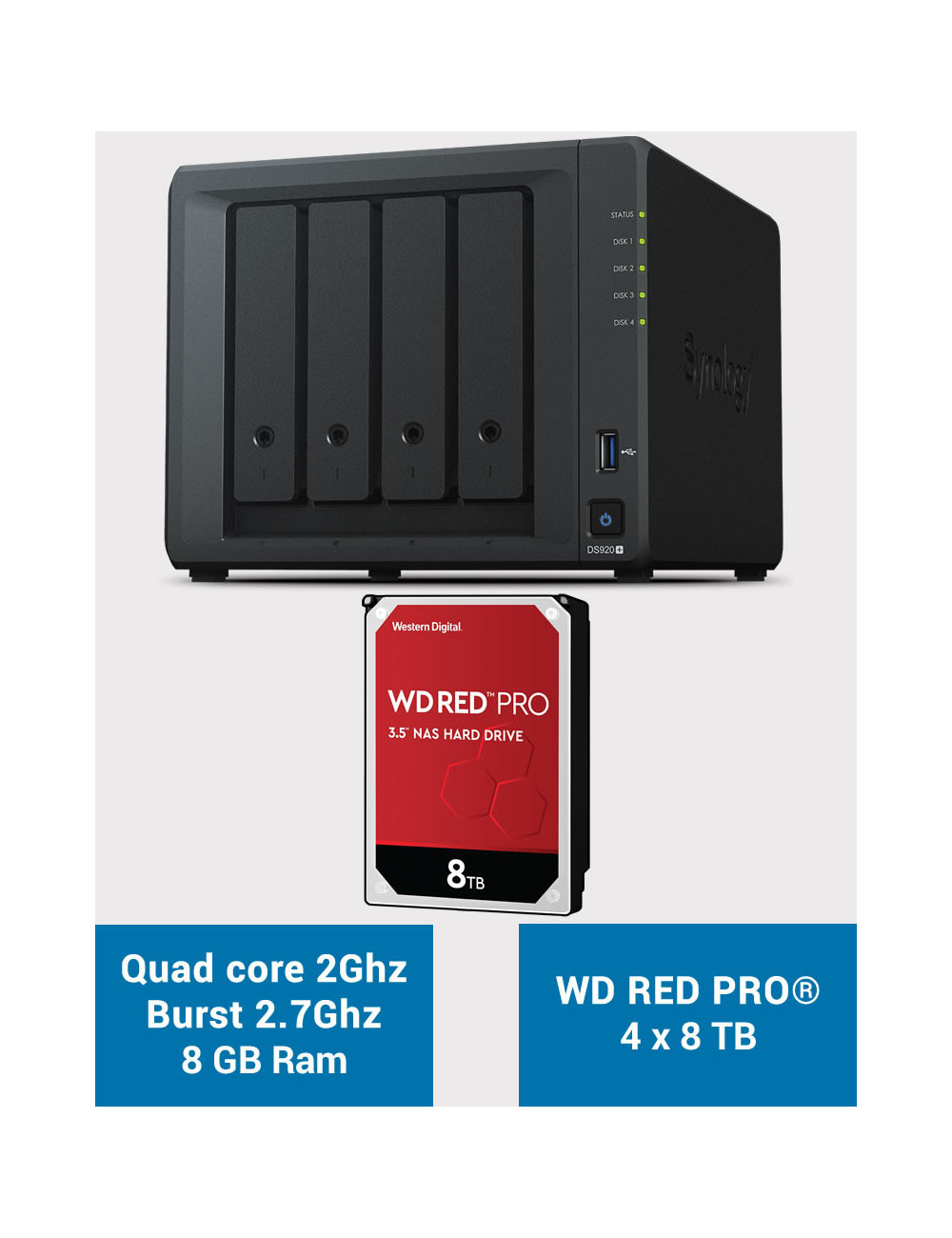 Synology DS920+ 8GB Serveur NAS WD RED PRO 32To (4x8To)