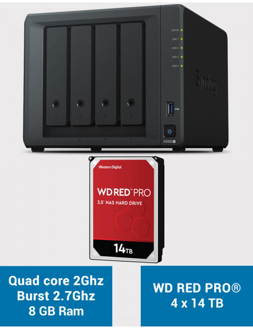 Synology DS920+ 8GB Serveur NAS WD RED PRO 56To (4x14To)