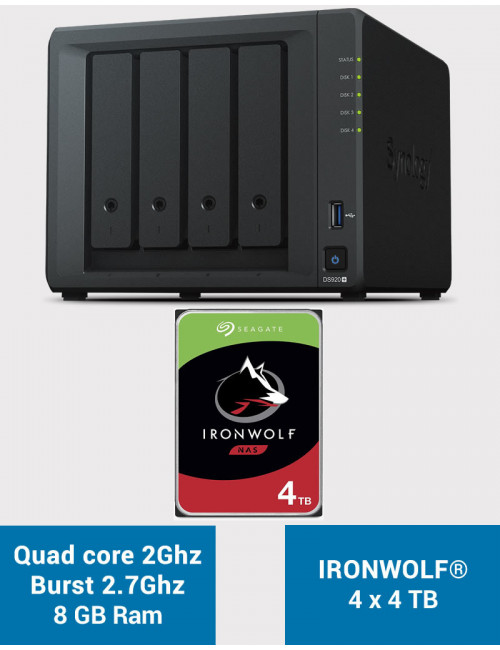 Synology DS920+ 8GB Serveur NAS IRONWOLF PRO 16To (4x4To)