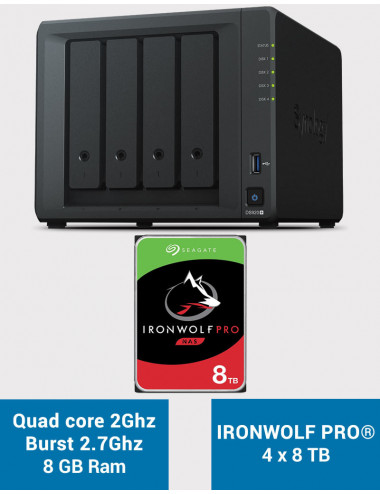 Synology DS920+ 8GB Serveur NAS IRONWOLF PRO 32To (4x8To)