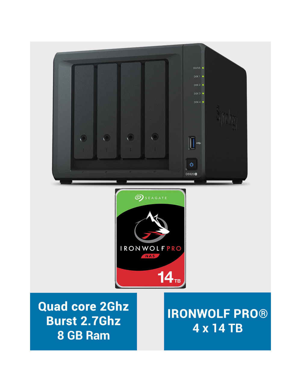 Synology DS920+ 8GB Serveur NAS IRONWOLF PRO 56To (4x14To)