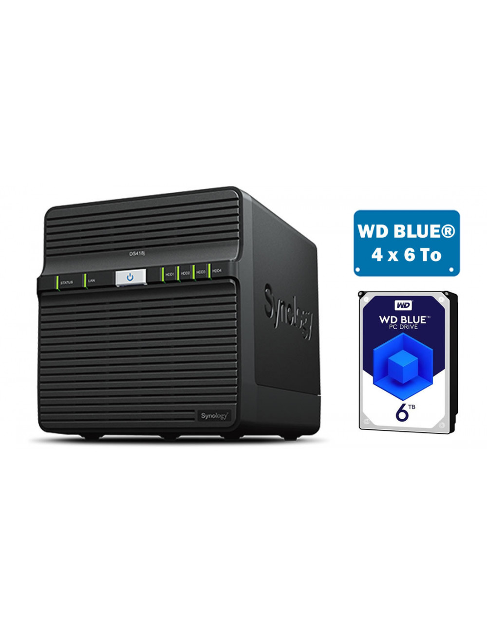 Synology DS418J Serveur NAS - SATA 6Gb/s - 24 To