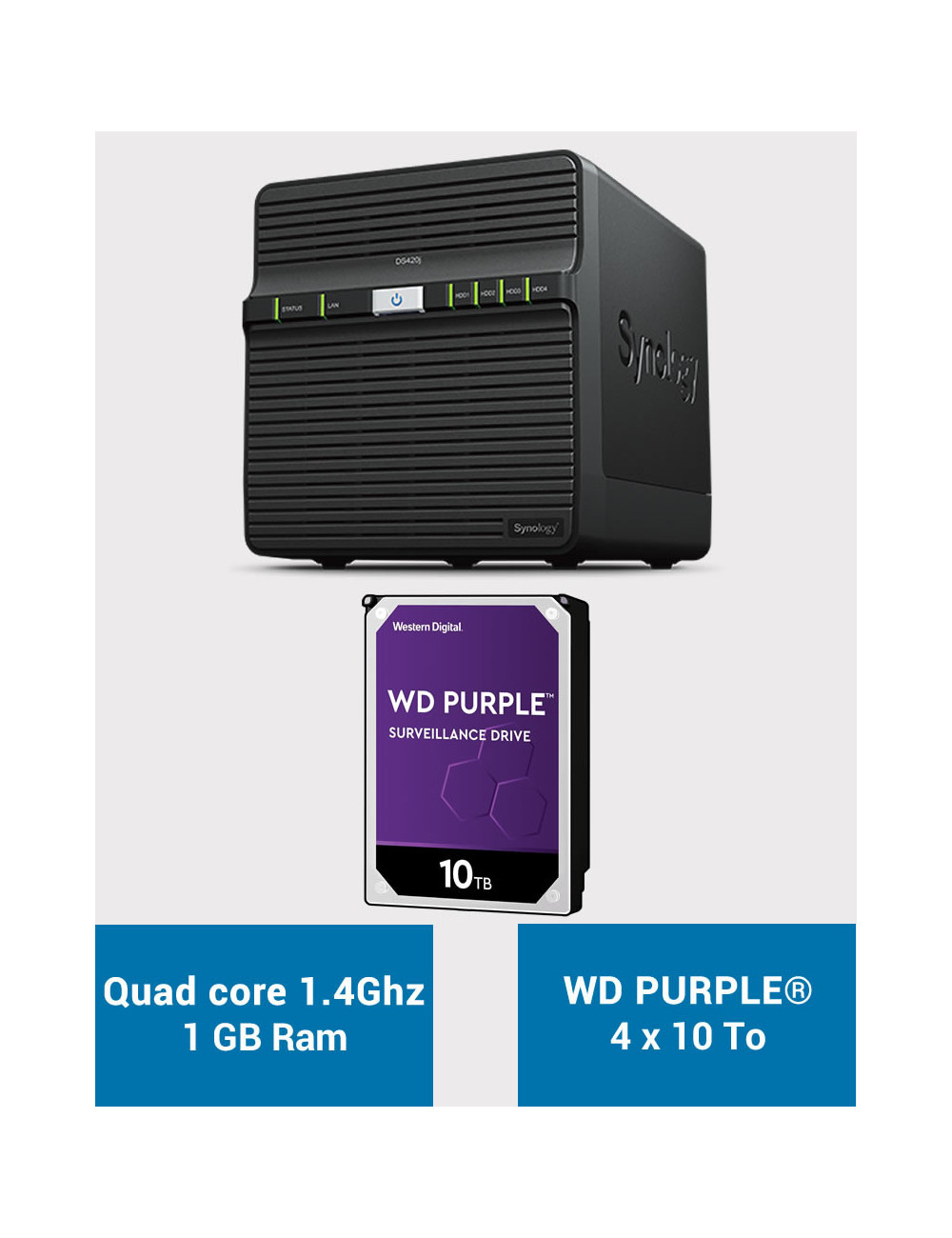 Synology DS420J Serveur NAS WD PURPLE 40To (4x10To)
