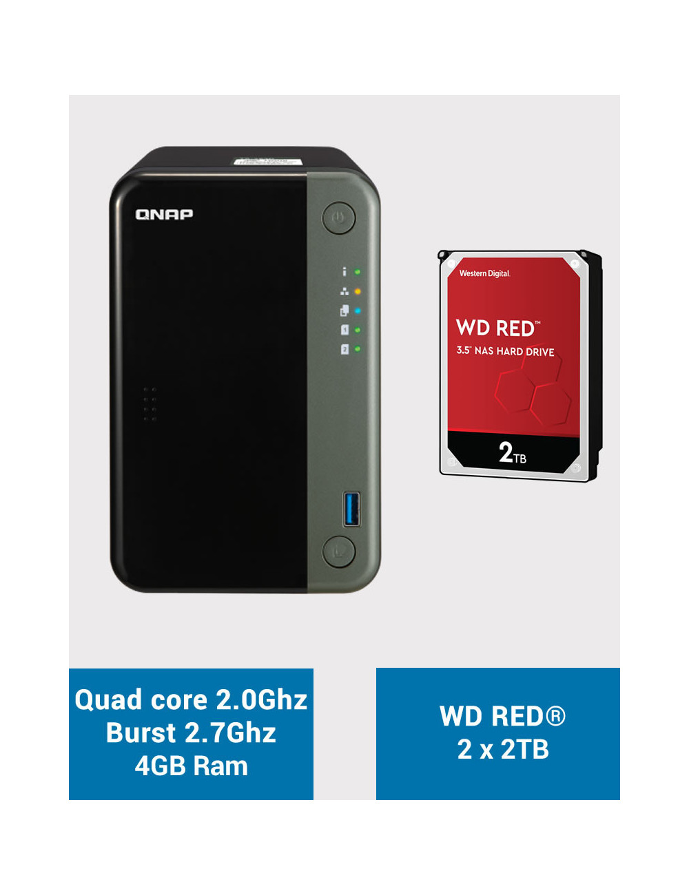 QNAP TS-253D 4GB Serveur NAS WD RED 4To (2x2To)